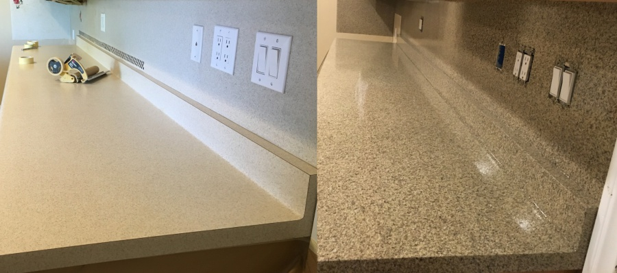 Speckled / Multi Color Finishes Can Be Reglaze On Any Countertop Surface.  As Noted The Speckled Can Be Applied To Tile, Cultured Marble, And Laminate  ...